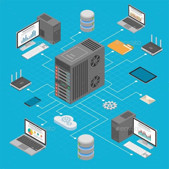 Data Network Technology Isometric - Computers Technology