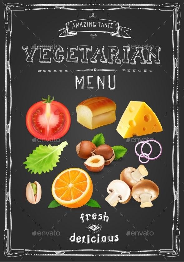 Vegetarian Menu on Chalkboard - Food Objects