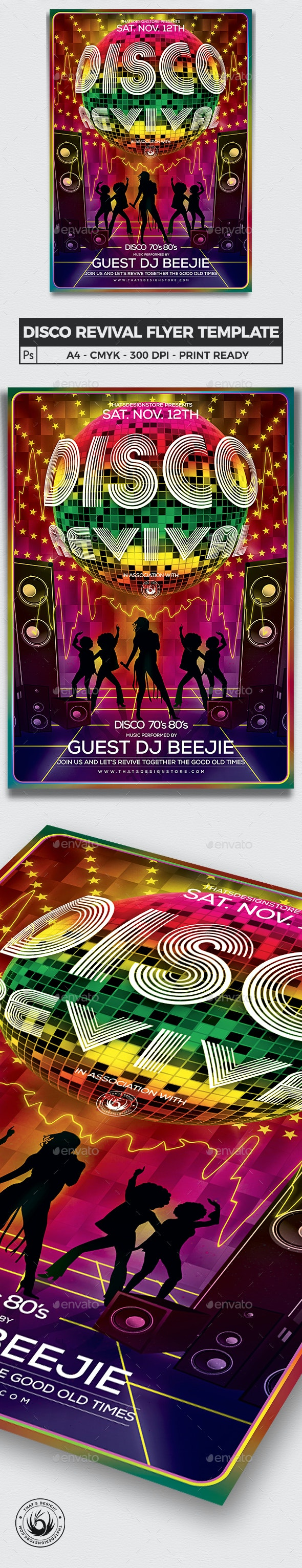 Disco Revival Flyer Template V1 - Clubs & Parties Events