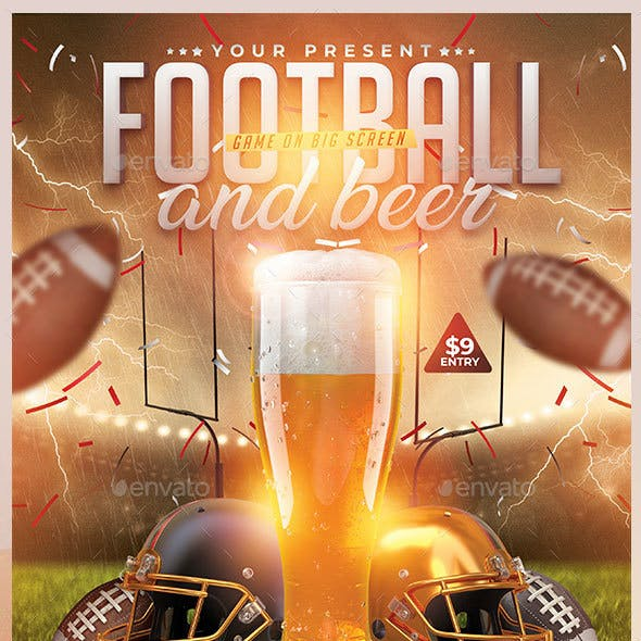 Football And Beer Flyer