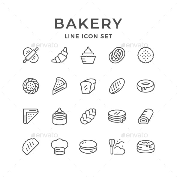 Set Line Icons of Bakery - Man-made objects Objects