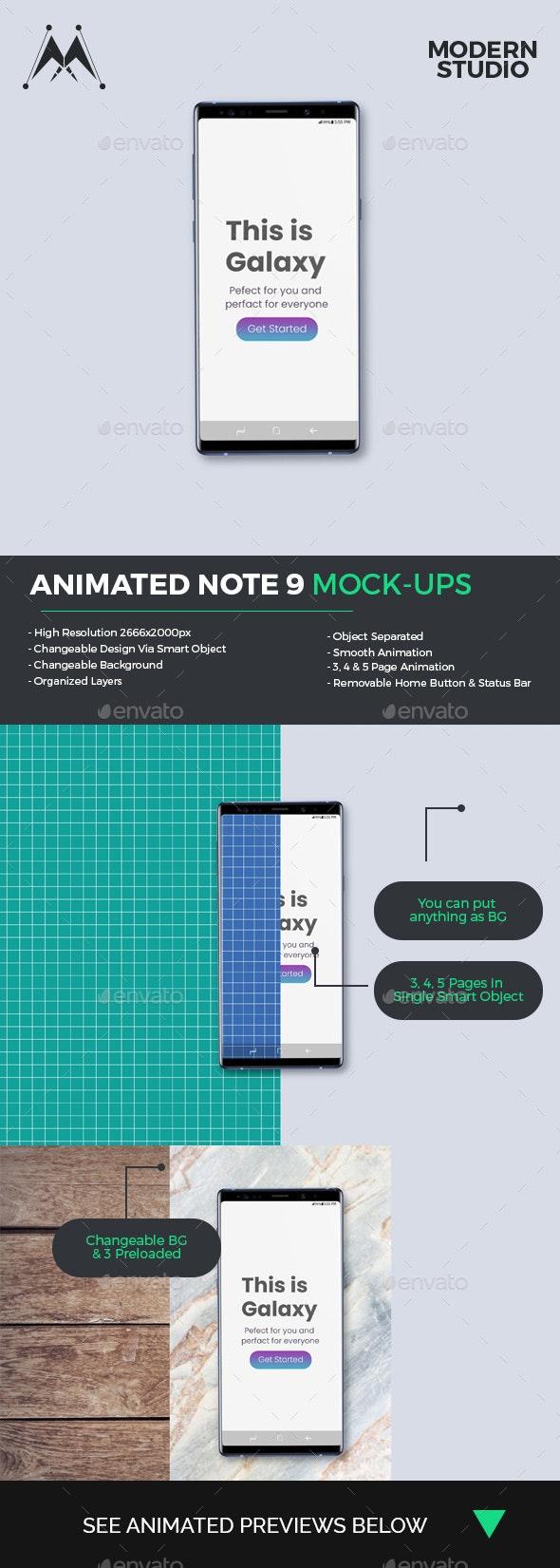 Animated Note 9 Mock-Ups - Mobile Displays