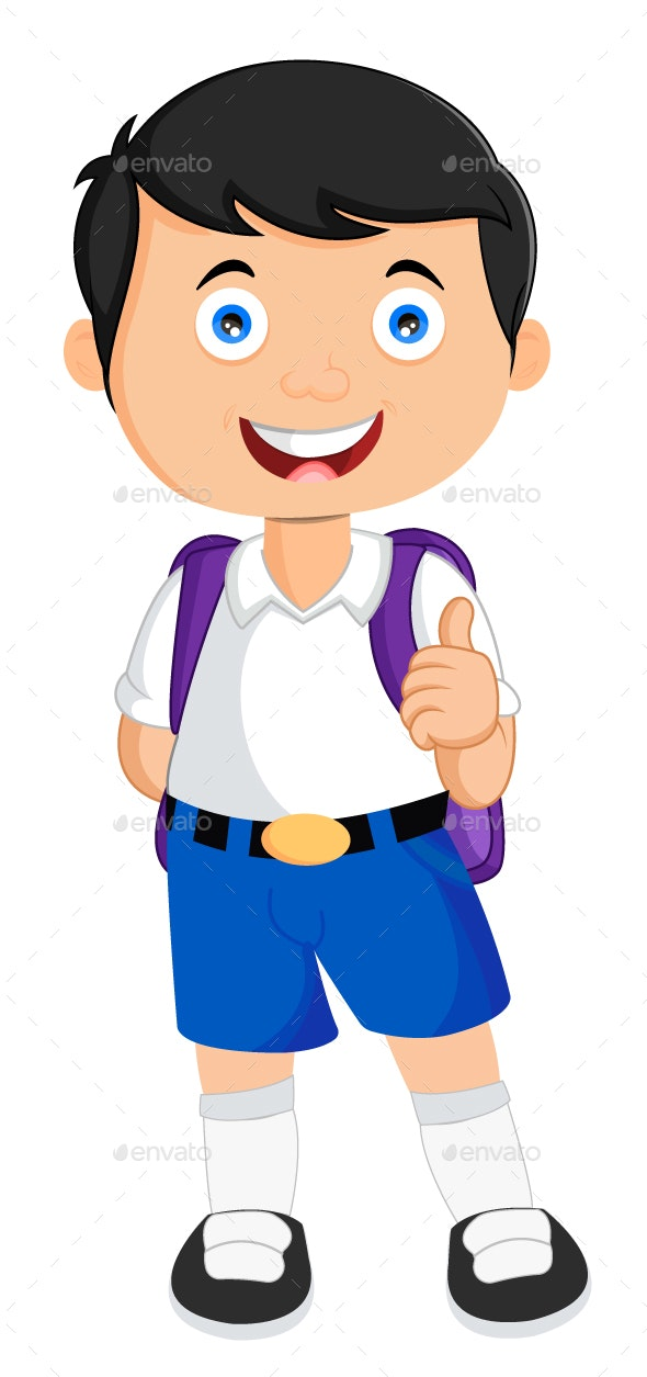 School Student Vector Illustration - People Characters