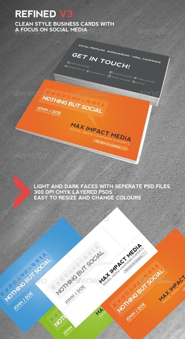 Refind V3 - Social Media Business Cards - Business Cards Print Templates
