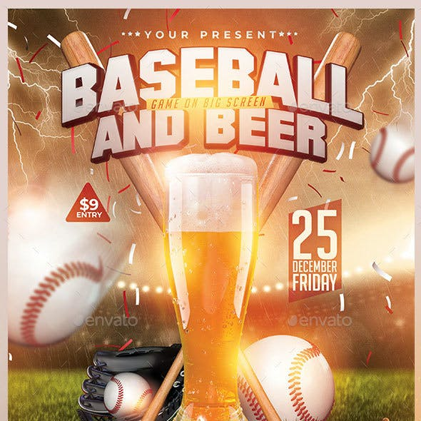 Baseball And Beer Flyer