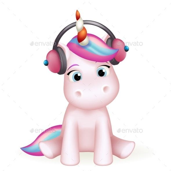 Cartoon Unicorn in Headphones Listens to Music - Animals Characters