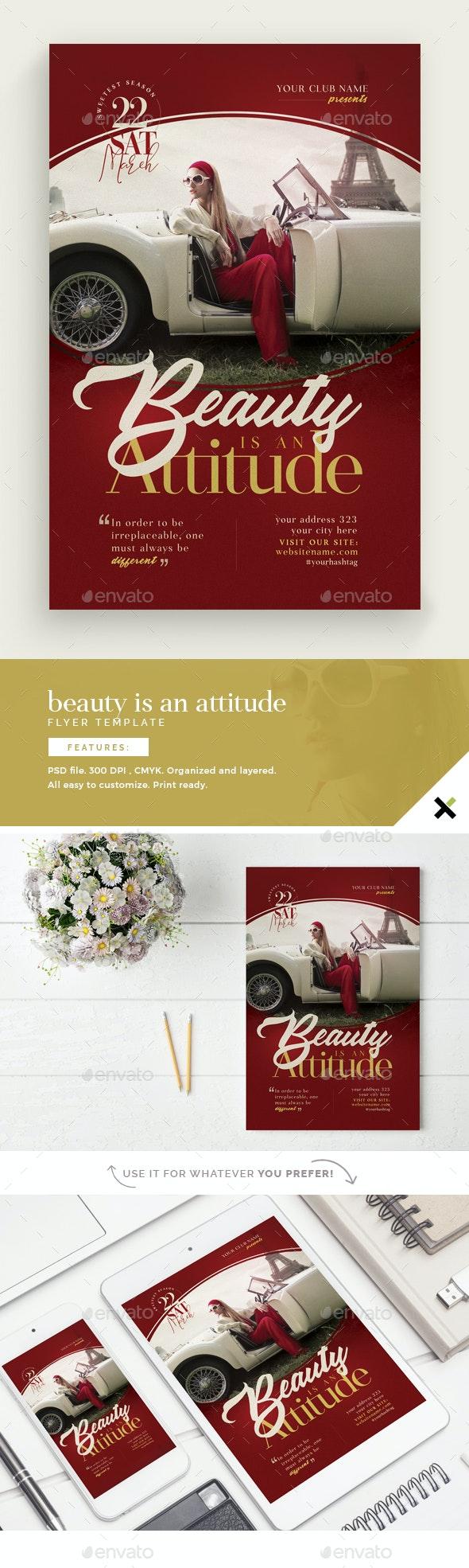 Beauty Is An Attitude Flyer Template - Flyers Print Templates