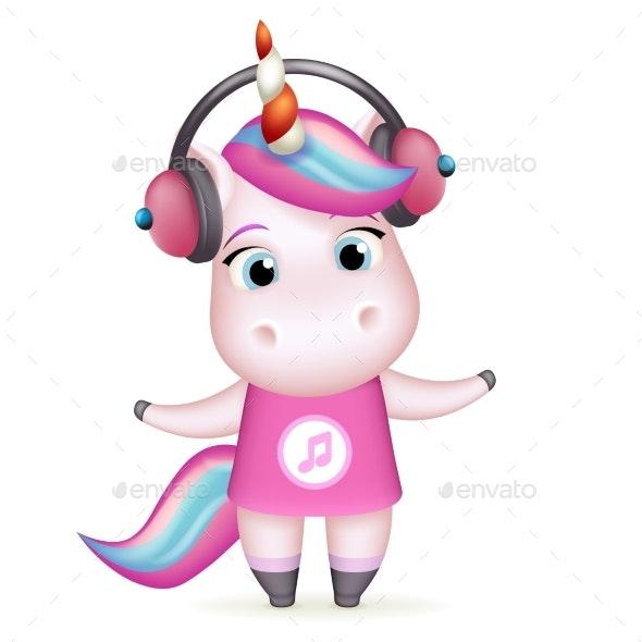 Girl Unicorn in Headphones Listens to Music - Animals Characters