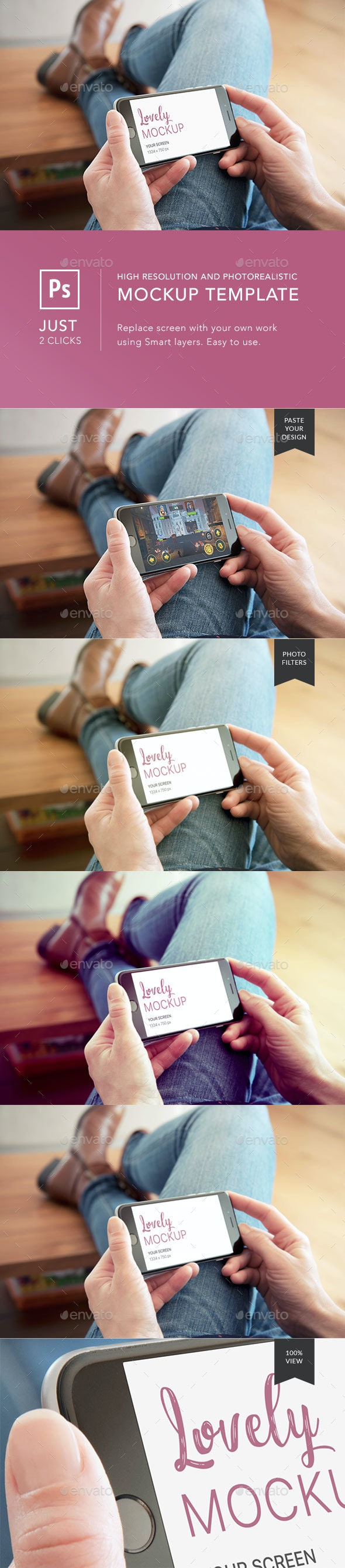 Black Smart Phone Mockup And Woman Reading News in Landscape Mode - Mobile Displays