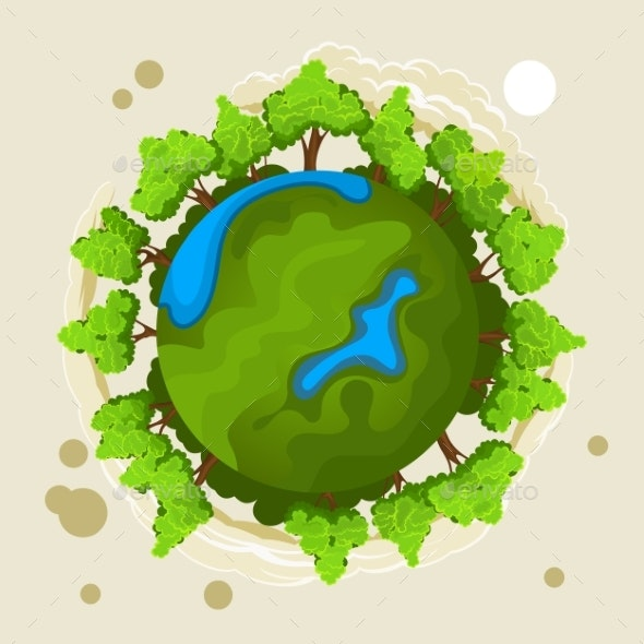 Ecology Concept with Green Planet and Trees - Flowers & Plants Nature