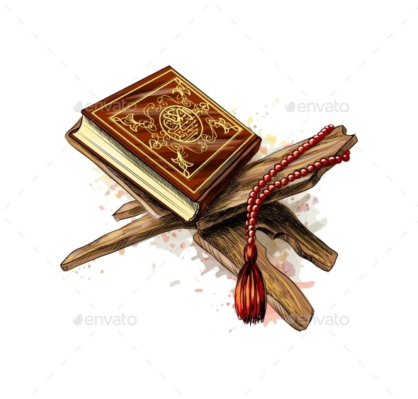 Holy Book of Koran with Rosary - Religion Conceptual