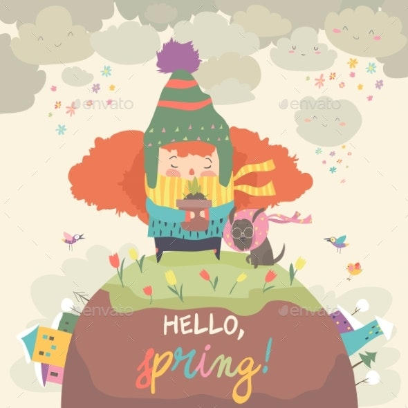 Girl Holding Pot with Spring Flower - People Characters
