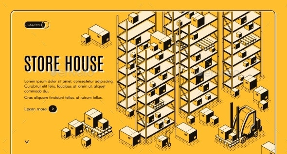 Cargo Storehouse Isometric Vector Webpage Template - Miscellaneous Vectors