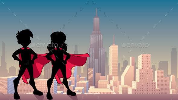 Super Kids City Silhouette - Backgrounds Decorative