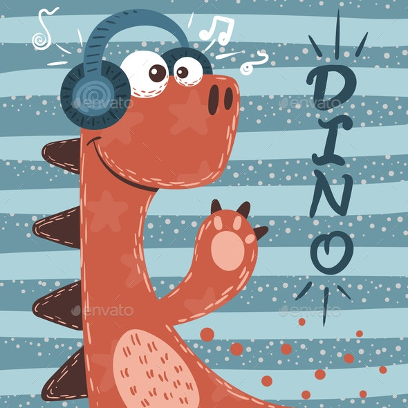 Dino Characters Music Illustration - Animals Characters