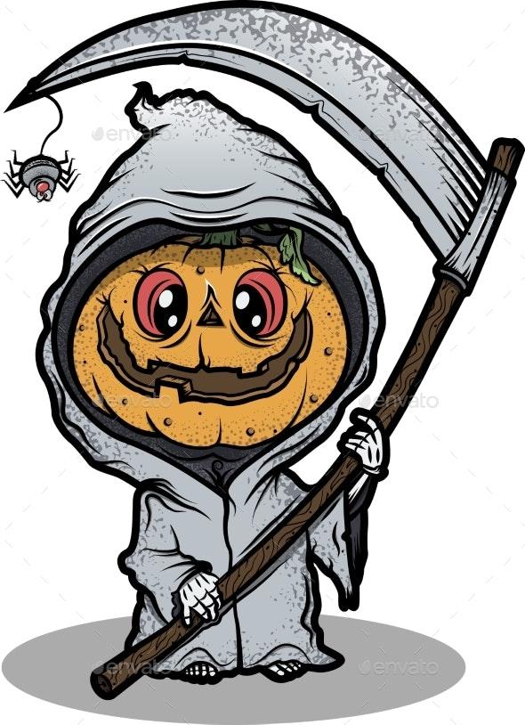 Creepy Halloween Monster. Vector Illustration - Seasons/Holidays Conceptual