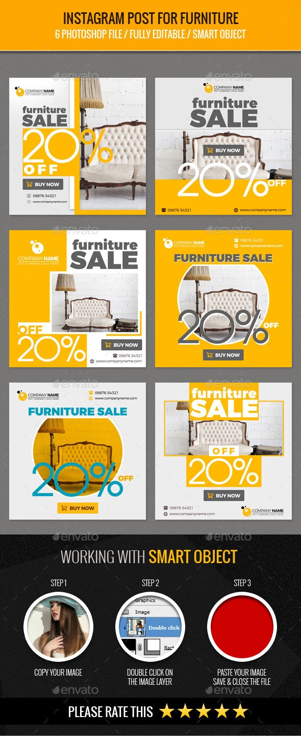 Instagram Post for Furniture - Banners & Ads Web Elements
