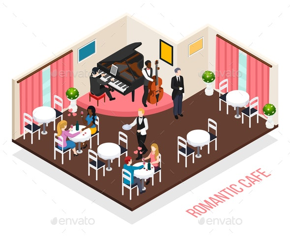 Musicians Romantic Cafe Isometric Composition - People Characters
