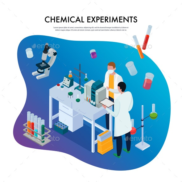 Chemical Experiments Isometric Illustration - People Characters