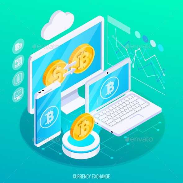 Currency Exchange Isometric Composition - Business Conceptual