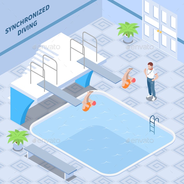 Synchronized Diving Isometric Composition - People Characters