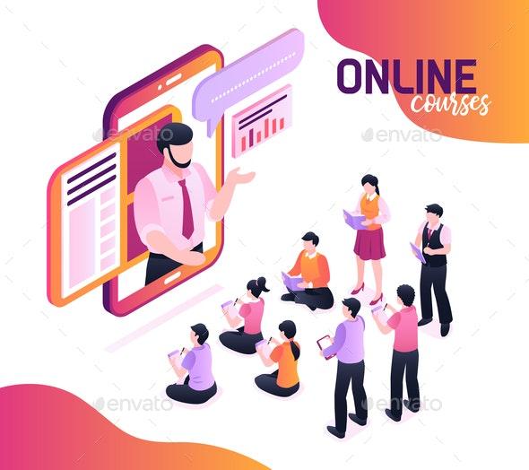 Online Courses Isometric Illustration - Business Conceptual