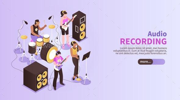 Audio Recording Horizontal Banner - Patterns Decorative