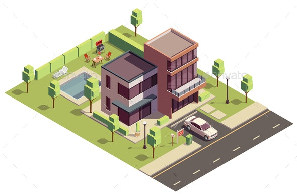 Isometric Suburban Villa Composition - Buildings Objects