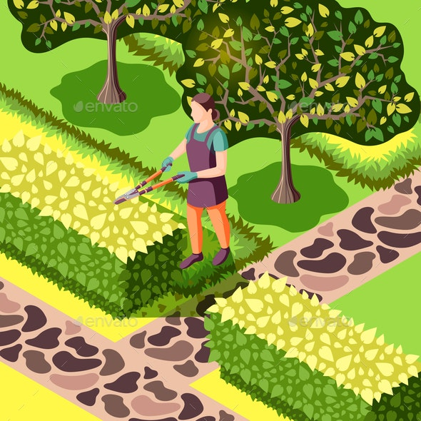 Landscaping Bushes Trimming Isometric Illustration - People Characters
