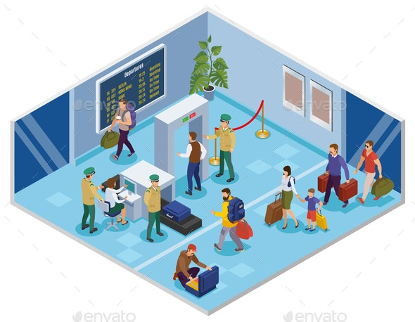 Travel People Isometric Composition - Patterns Decorative