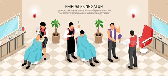 Barber Shop Isometric Horizontal Illustration - People Characters