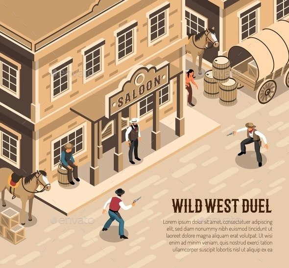 Cowboys Duel Isometric Illustration - People Characters