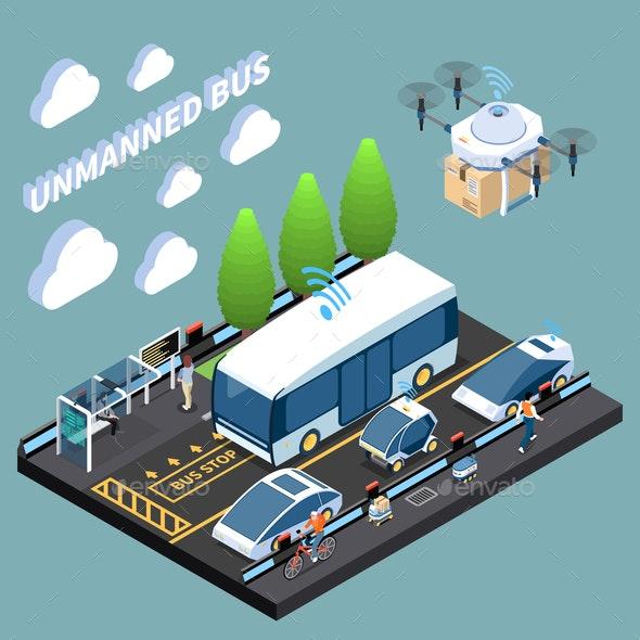 Unmanned Futuristic Vehicles Composition - Miscellaneous Vectors
