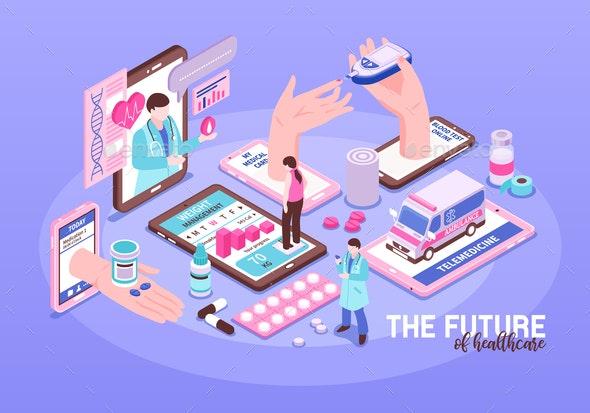 Online Medicine Illustration - Health/Medicine Conceptual