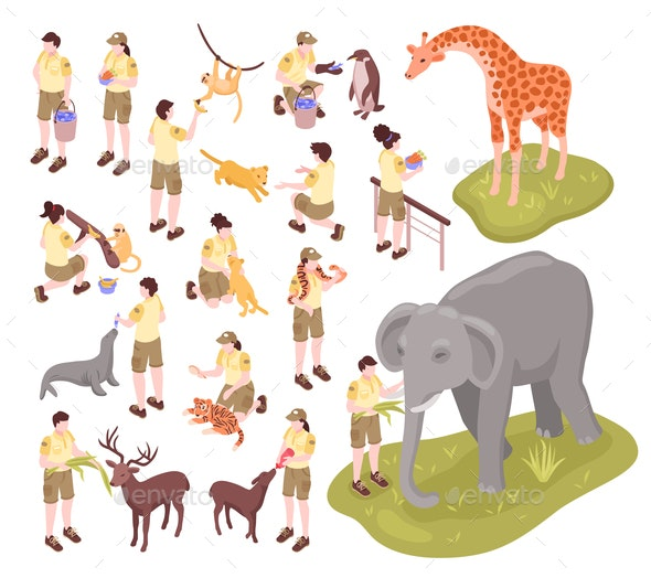 Zoo Workers Isometric Set - Animals Characters