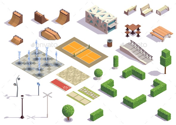 City Park Isometric Set - Buildings Objects