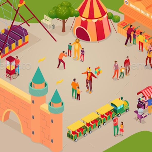 Amusement Park Isometric Horizontal Illustration