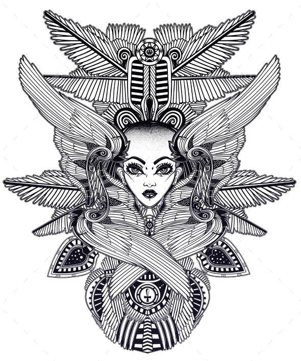 Portrait of the Ancient African Winged Goddess - Monsters Characters