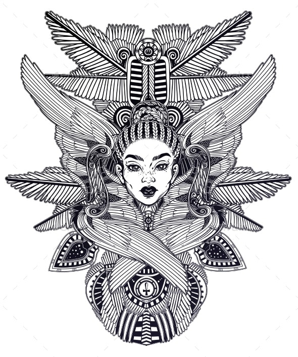 Portrait of the a Beautiful African Winged Goddess - Monsters Characters