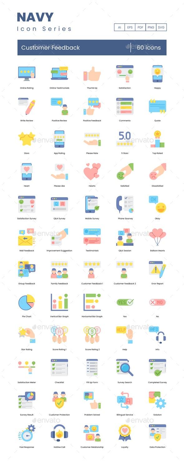 Customer Feedback - Navy Series - Business Icons
