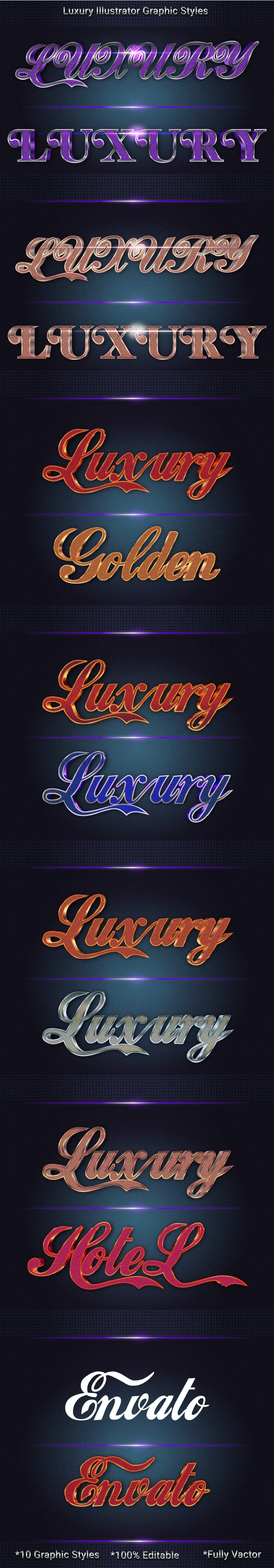 Luxury Metal Text Effects - Styles Illustrator