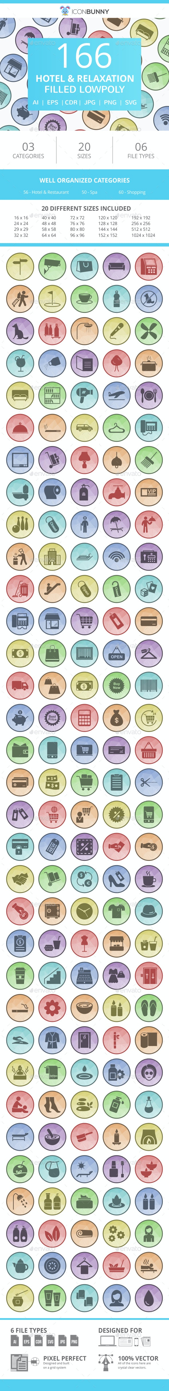 166 Hotel & Relaxation Filled Low Poly Icons - Icons
