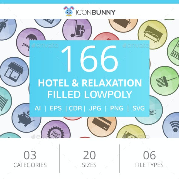 166 Hotel & Relaxation Filled Low Poly Icons