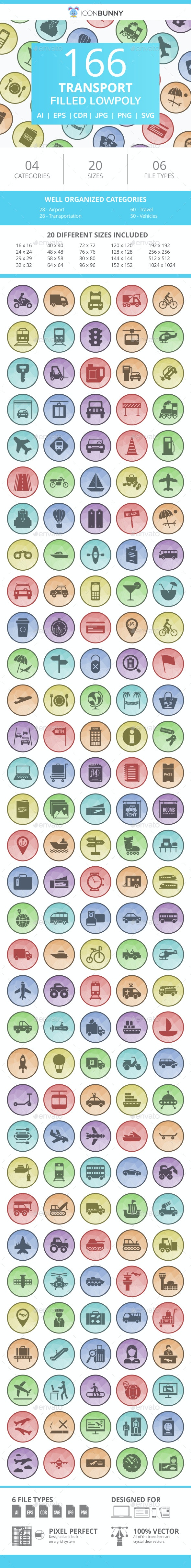 166 Transport Filled Low Poly Icons - Icons