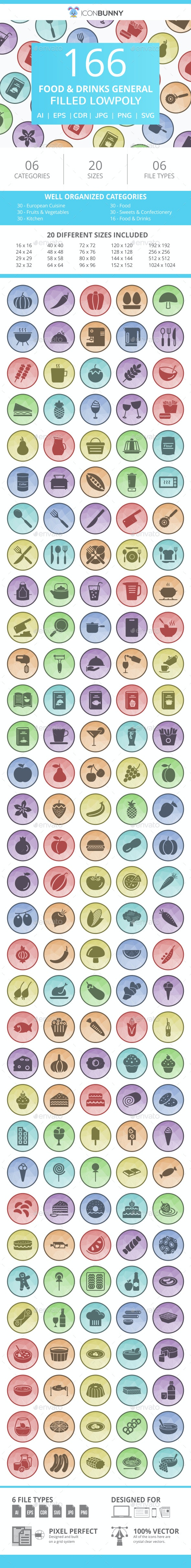 166 Food & Drinks General Filled Low Poly Icons - Icons