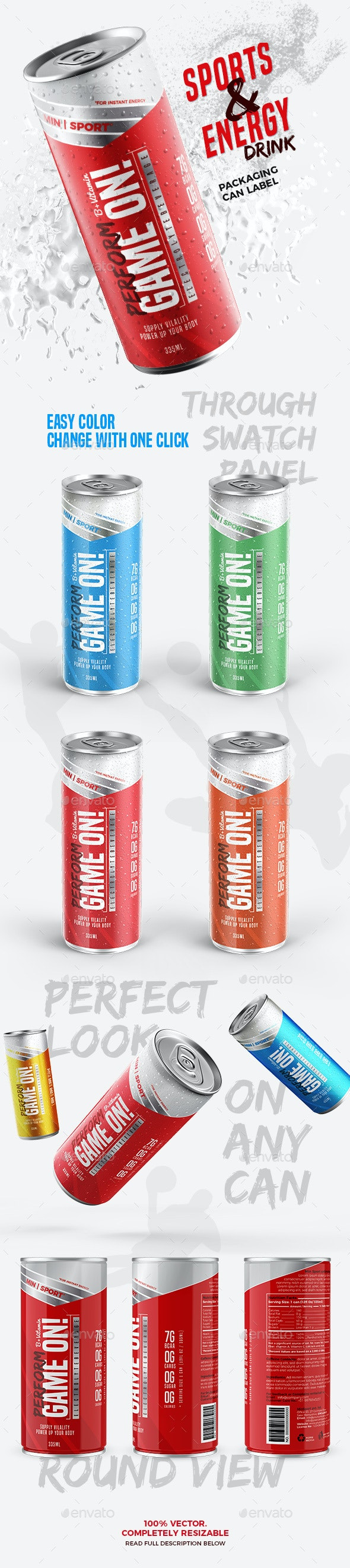 Energy | Sports Drink Packaging Can Label - Packaging Print Templates