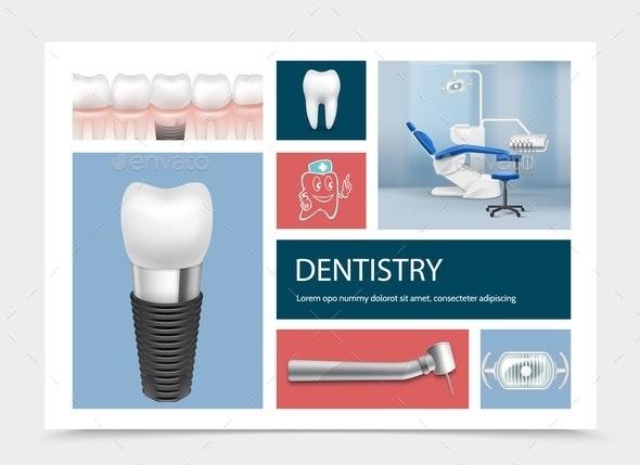Realistic Dentistry Elements Composition - Health/Medicine Conceptual
