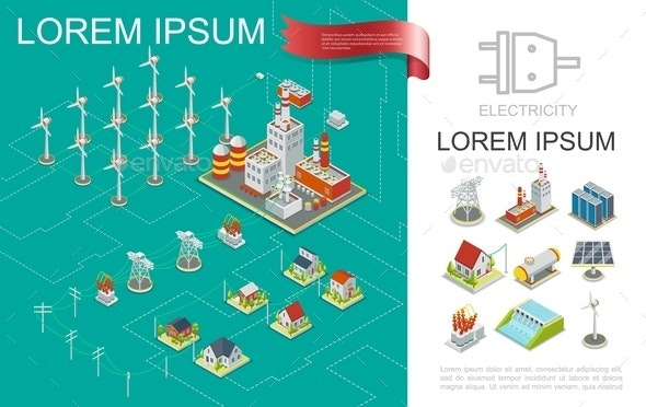 Isometric Electricity Production Composition - Industries Business