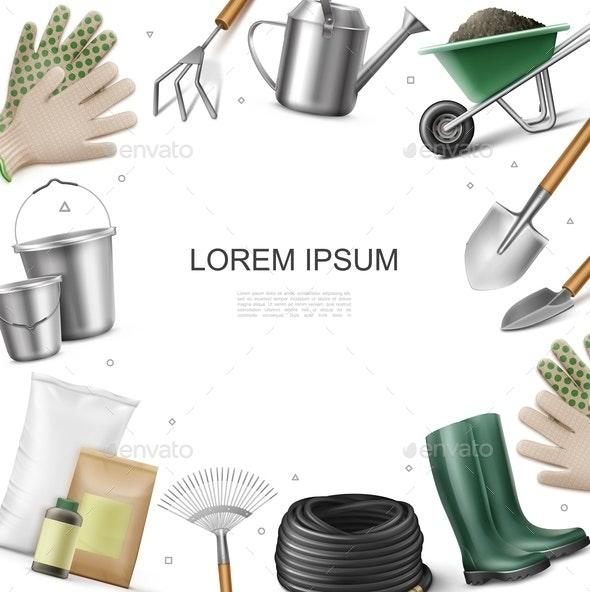 Realistic Garden Equipment Template - Miscellaneous Vectors