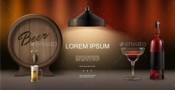 Realistic Pub Elements Concept - Miscellaneous Vectors